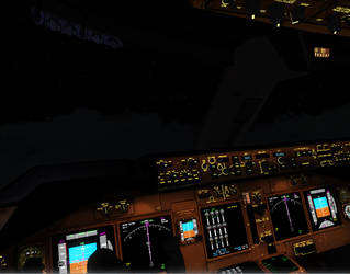 Boeing 747 Cockpit at Night FL360 by A42Remedy