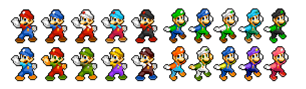 Mario and luigi palette swap sprites by ninboy01 on deviantart for What color is mario