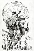 Leonardo of TMNT by our friend Skottie Young by AshcanAllstars