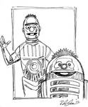 Bert and Ernie as C3PO and R2D2 by Rebekah Isaacs