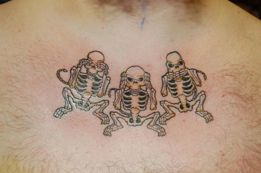 three wise monkey skeletons tattoo by yayzus on deviantart. Black Bedroom Furniture Sets. Home Design Ideas