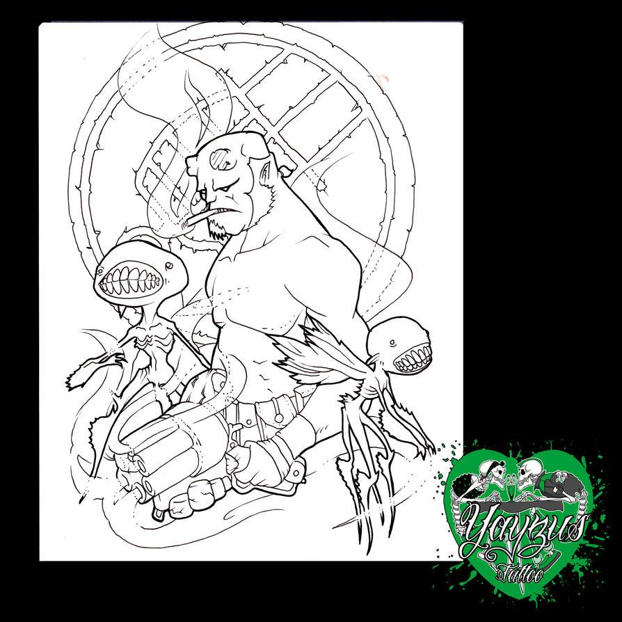 Hellboy linework by yayzus