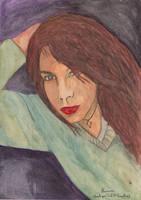 watercolor portrait (SOFH R - my google+ follower) by JohnKarnaras