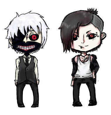 White Haired Kaneki and Uta Stickers by Parrisa