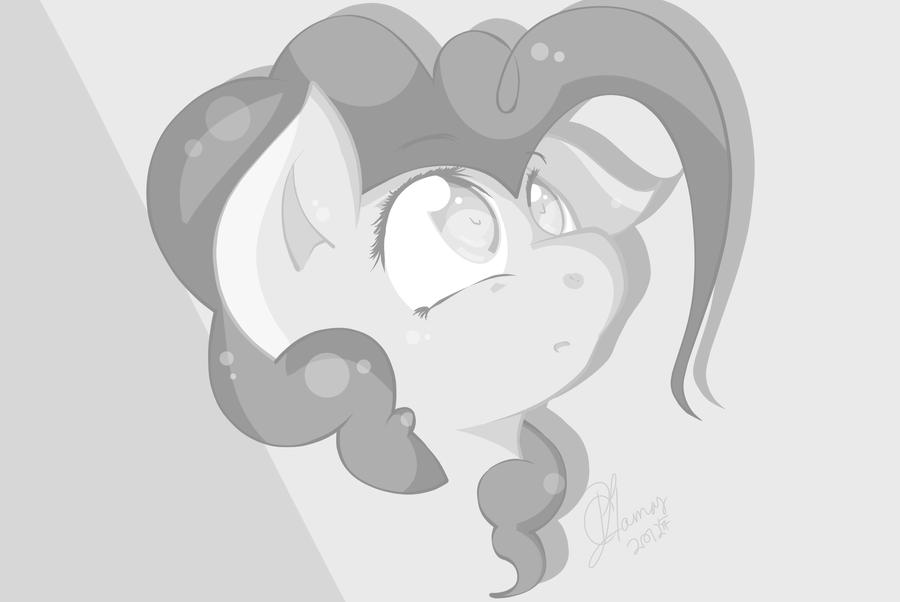Black and White: Pinkie Pie by LlamasWithKatanas