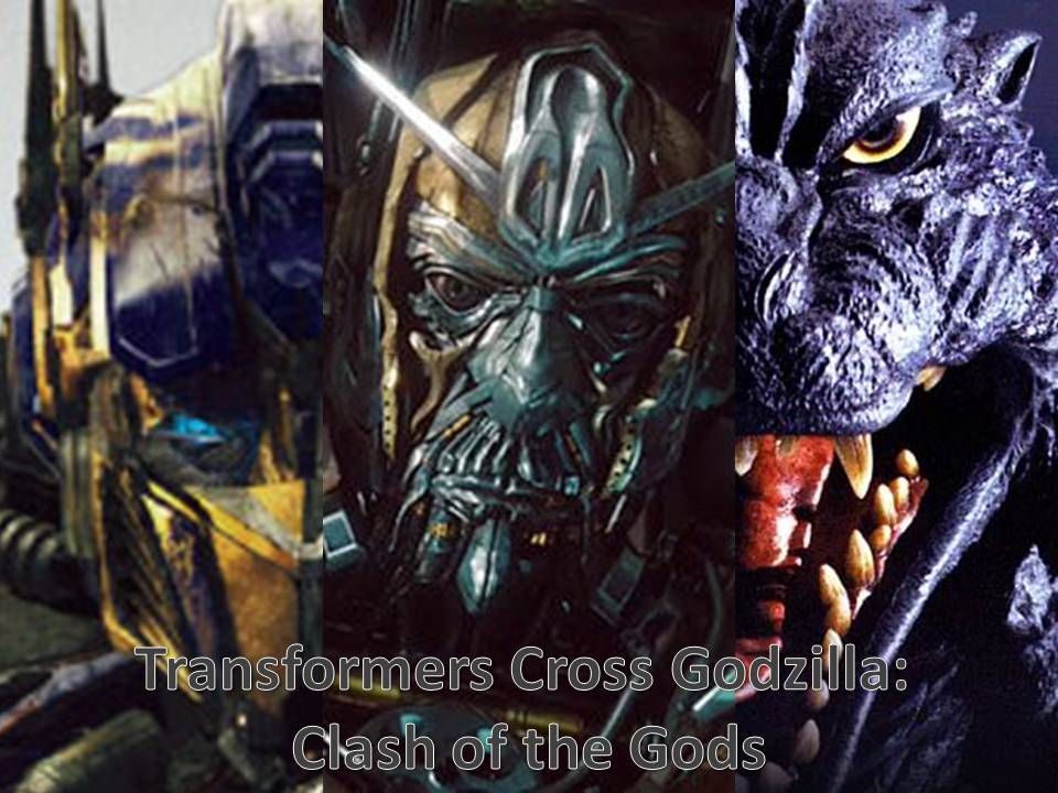 transformers cross godzilla clash of the gods by artdog22
