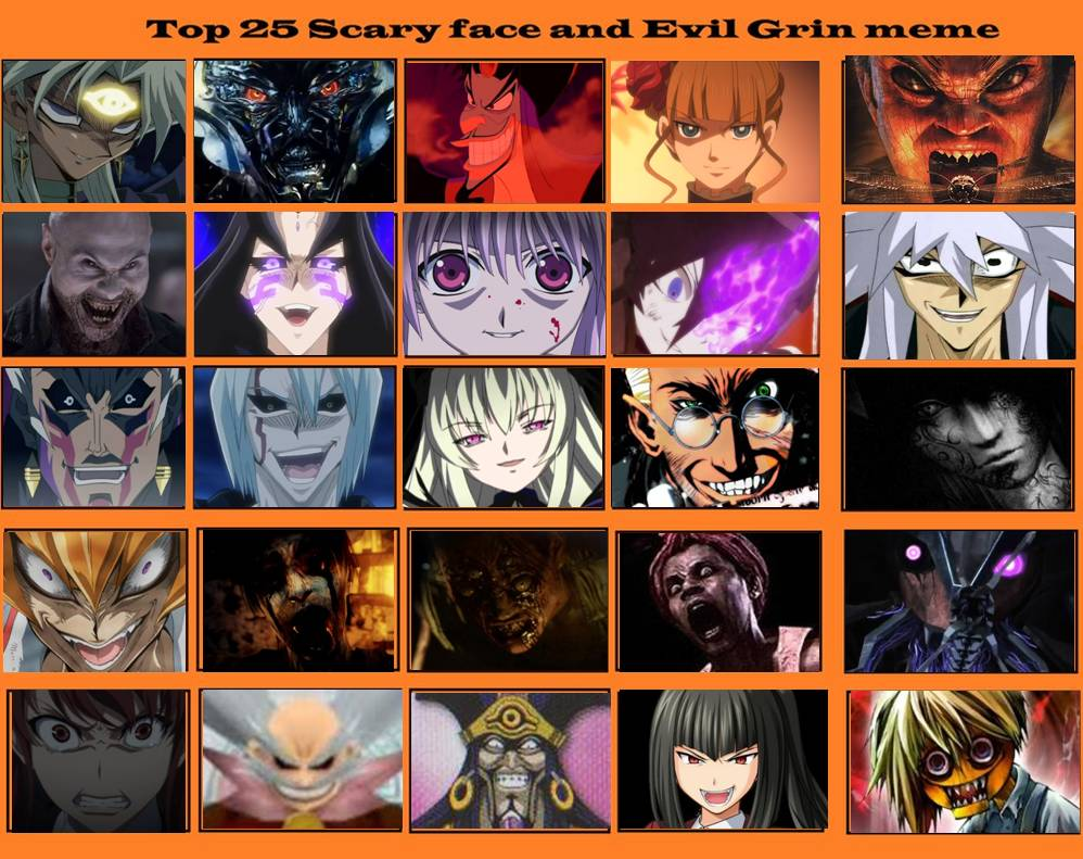 top 25 scary face and evil grins meme by artdog22 on