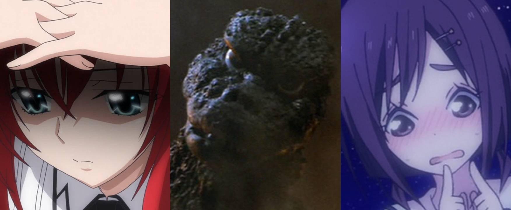 Godzilla And Two Anime Girls Embarrassed Shy By Artdog22