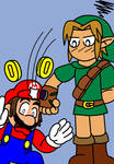 Link punches Mario