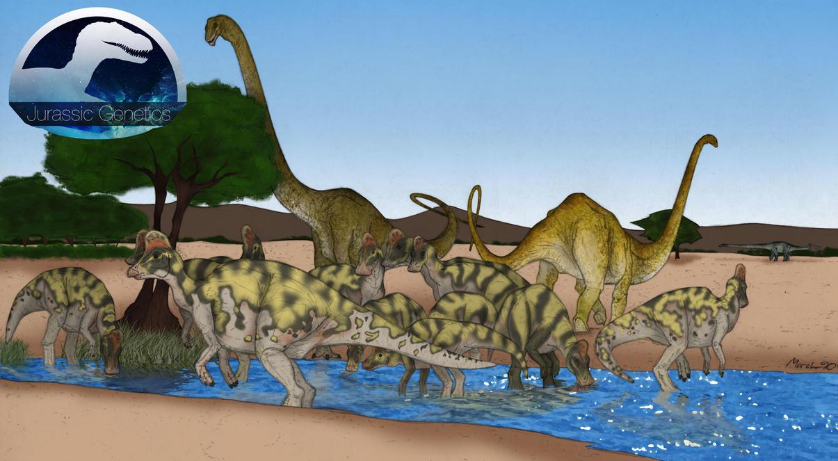 JG - Corythosaurus Mamenchisaurus by March90Jurassic Park Corythosaurus