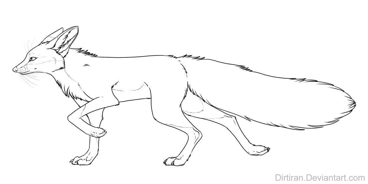 red fox coloring pages - free red fox line art by key feathers on deviantart