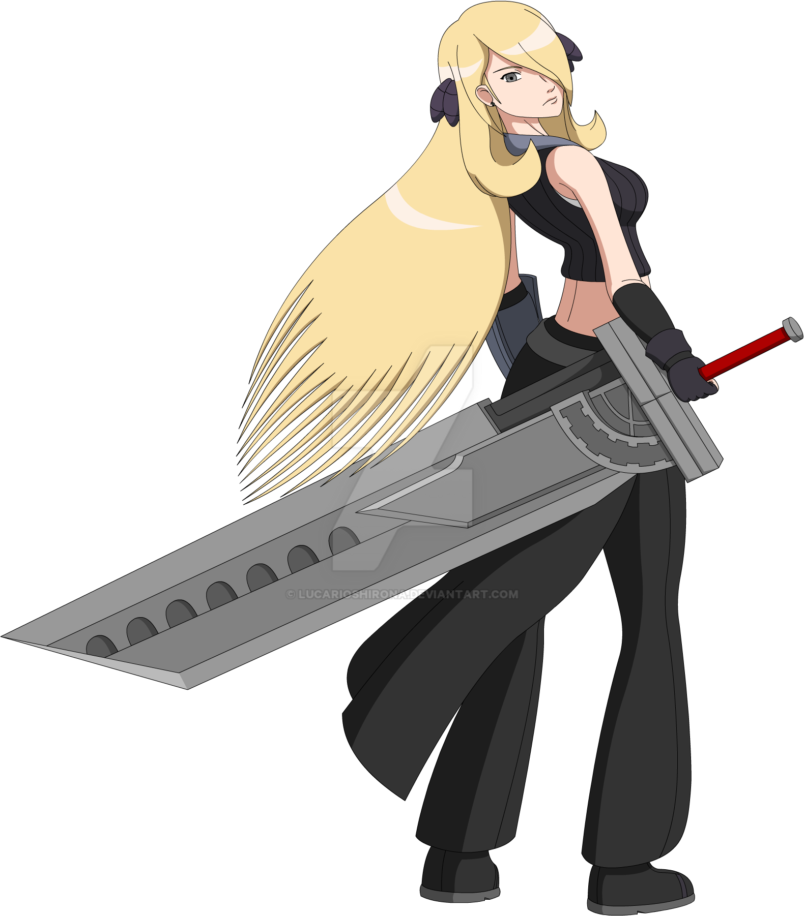 pkmn x ffvii cynthia with fusion sword complete by