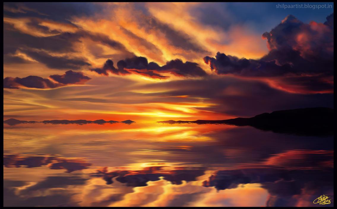 salar de uyuni bolivia sunset by Khushiart