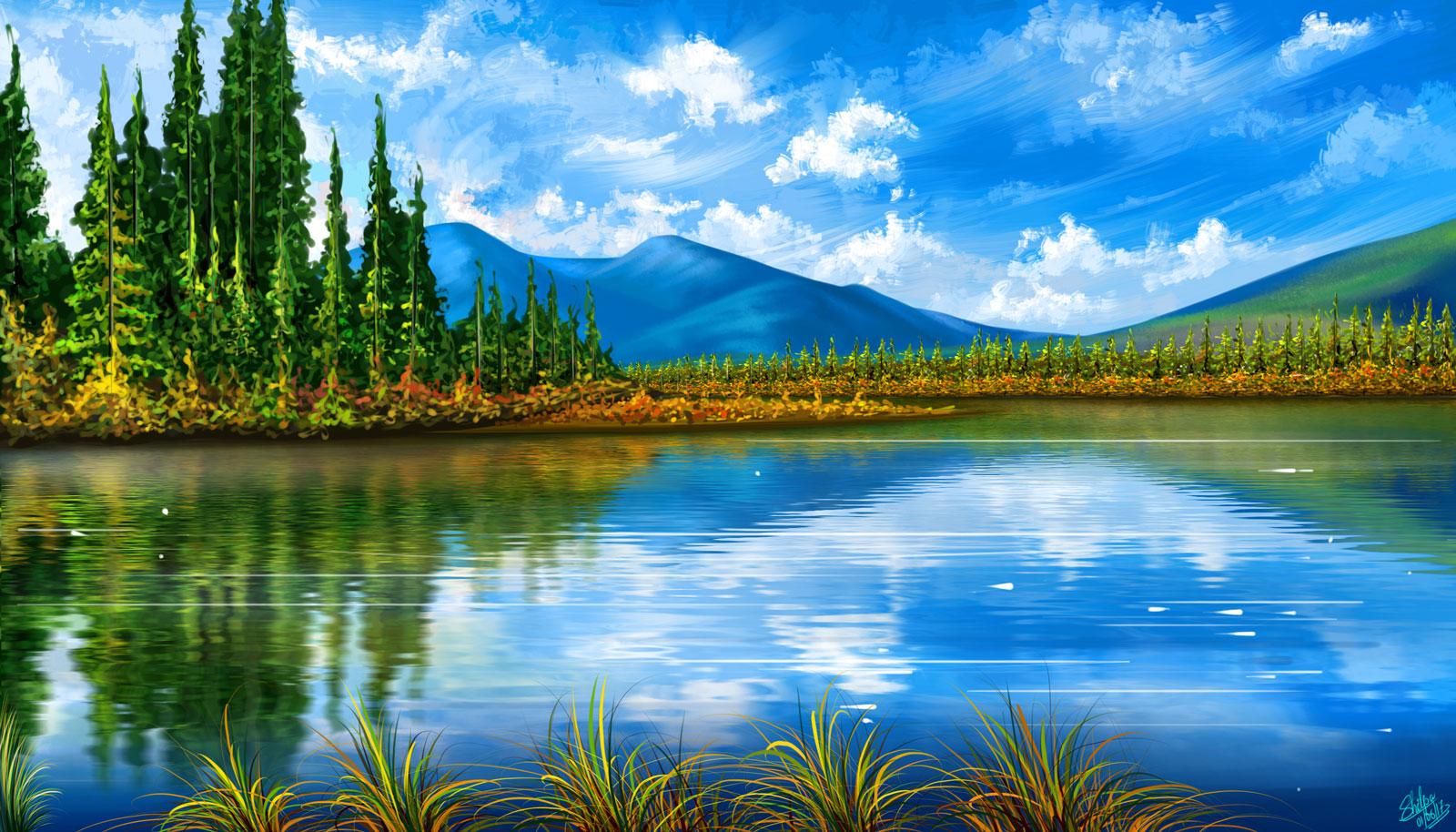 sky blue mountain reflection - photo #35