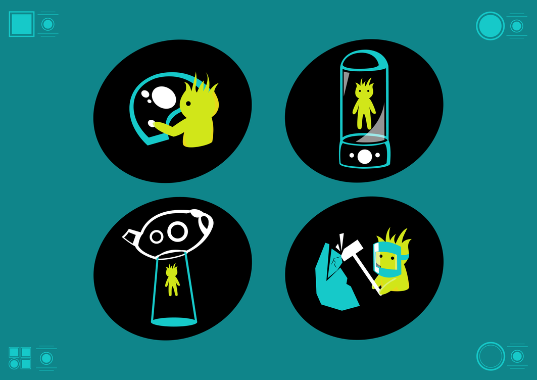 Alien Spaceship Wayfinding Icons by Chigucactus