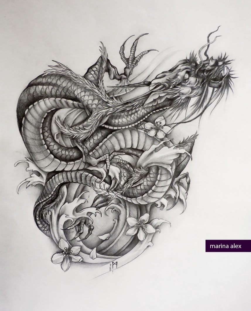 Asian dragon tattoo sketch by MarinaAlex