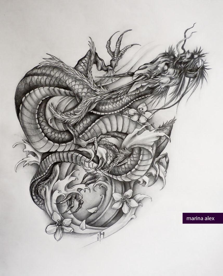 Asian dragon tattoo sketch by MarinaAlex
