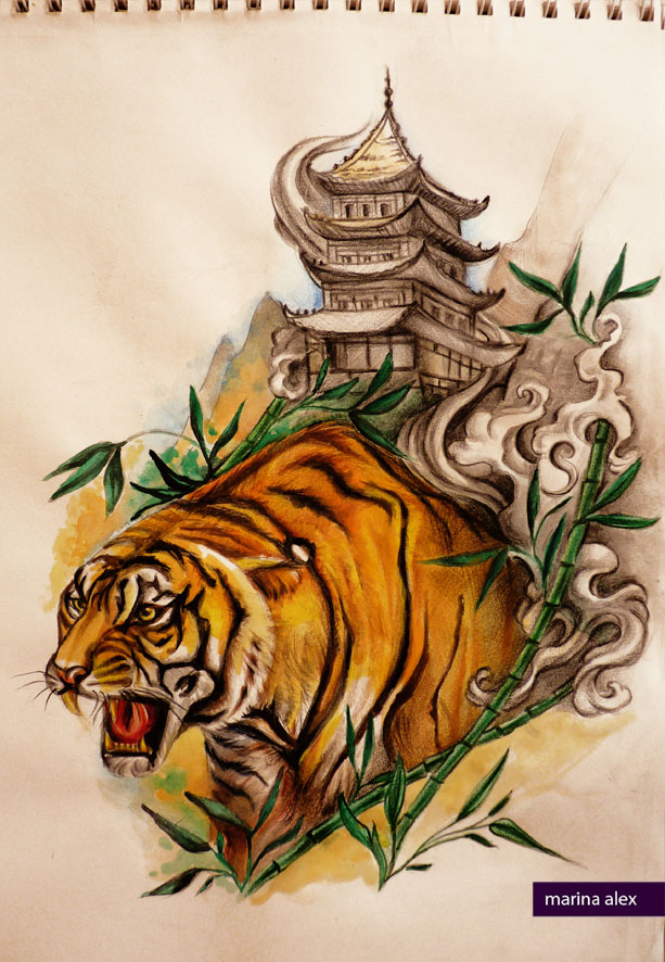 oriental tattoo design tiger and pagoda by marinaalex on deviantart. Black Bedroom Furniture Sets. Home Design Ideas