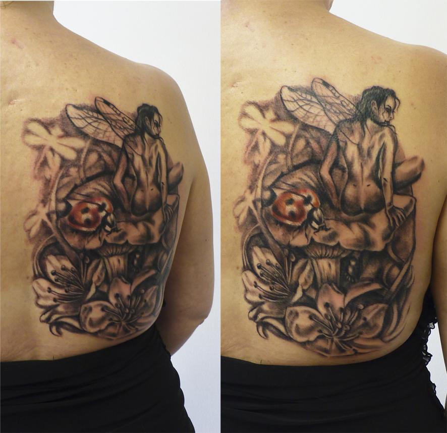 Asian Dragon Tattoo Sketch By Marinaalex On Deviantart: Fairy Flowers Mushroom Tattoo By MarinaAlex On DeviantArt