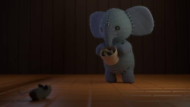 Kawaii Stuffed Elephant Scene