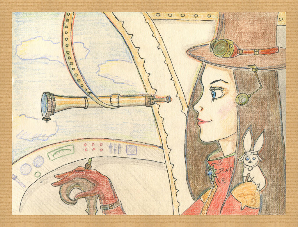 Steampunk Pilot Girl by Volatilite
