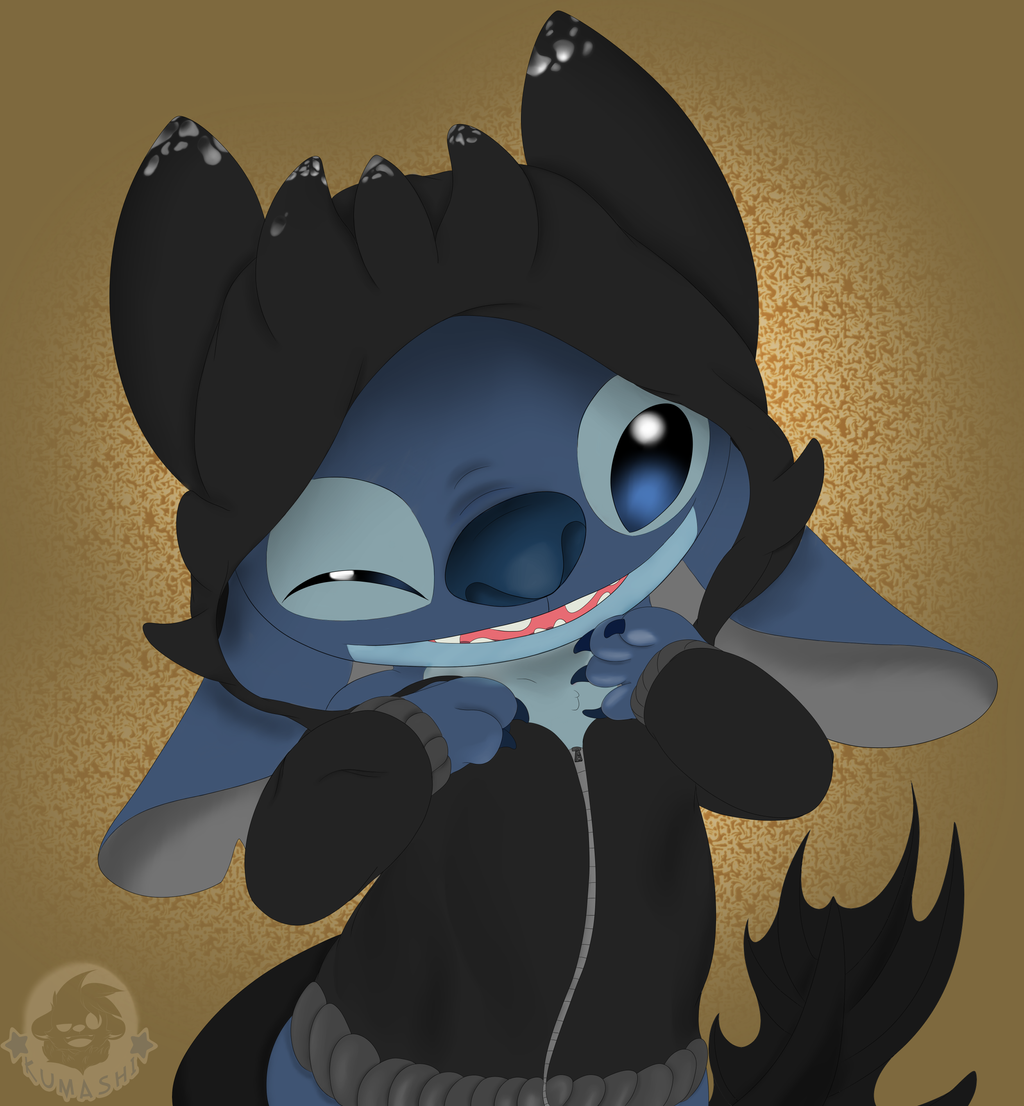 stitch in a toothless hoodie by kumafloof