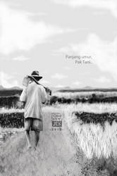 Pak Tani-grayscale-illustration-for-Litera-by-ohmy