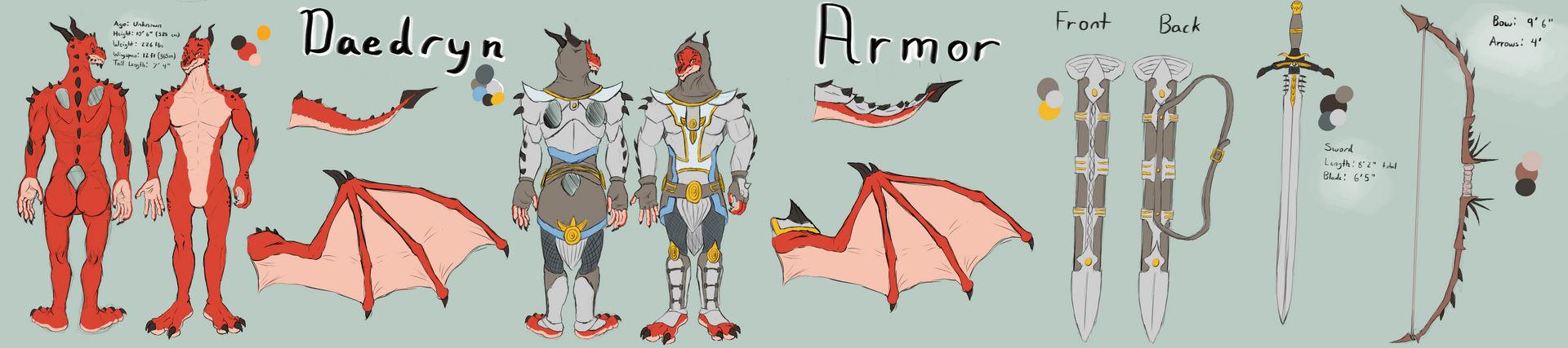 Daedryn the Dragon Knight (reference sheet)