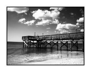 docks and water b + w by TravisTakesPhotos