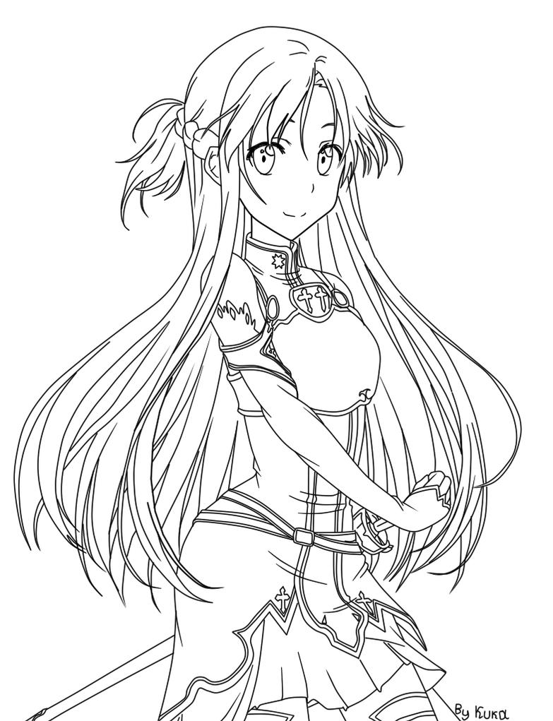 anime girl with swords coloring pages | coloring Asuna by KukaGirl on DeviantArt