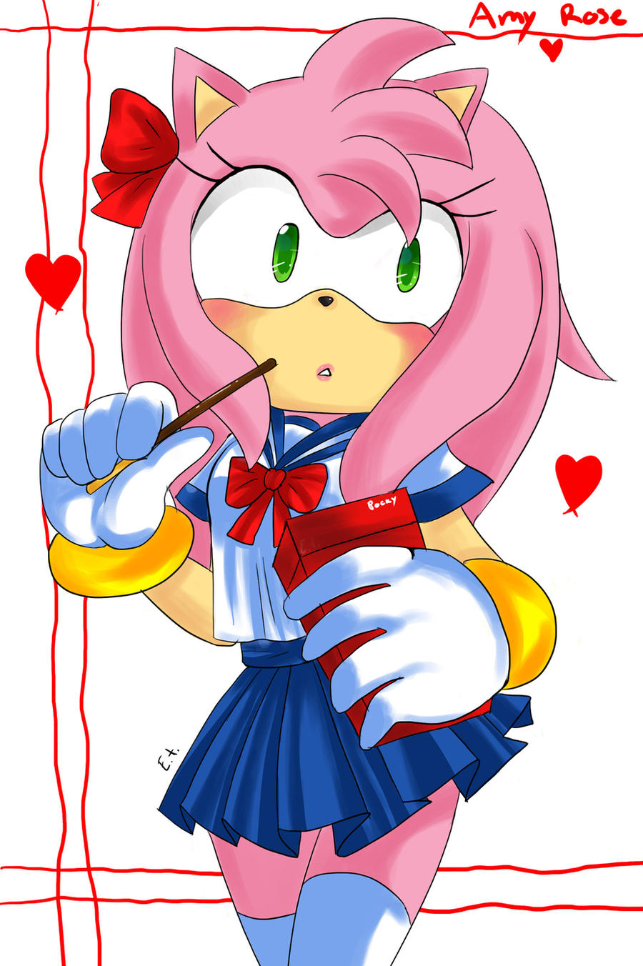 Amy rose in school uniform by evino chan on deviantart