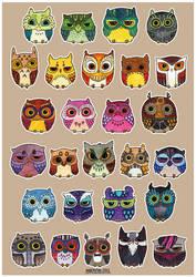 Flock of owls by Myrntai