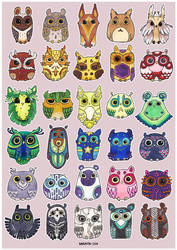 Flock of Owls IV by Myrntai