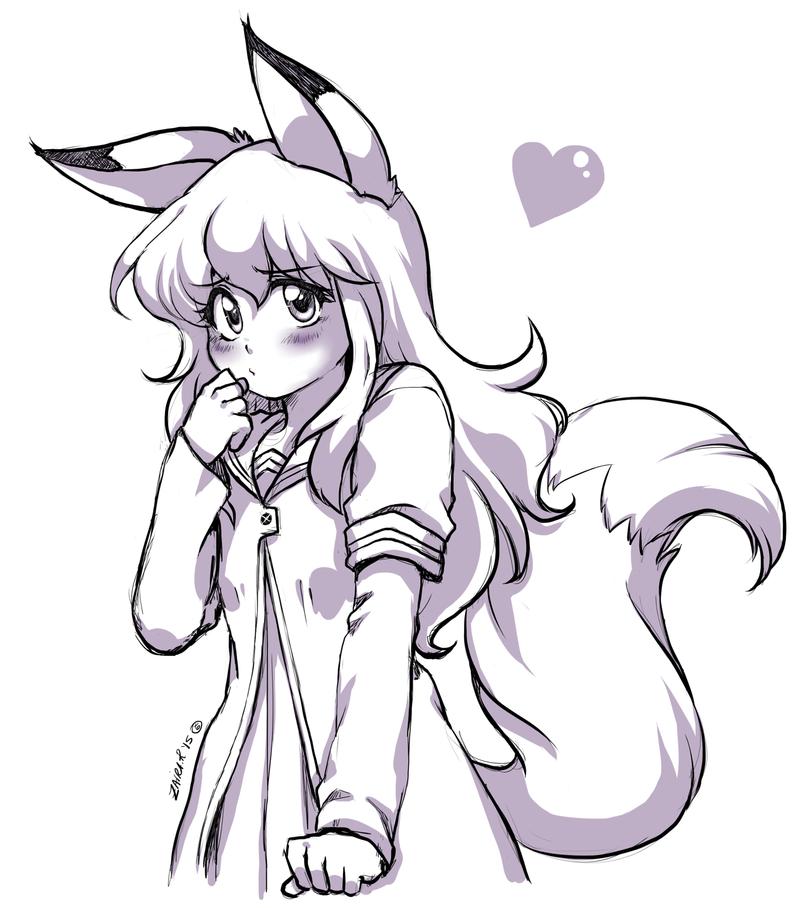 Fox Girl Drawing Fox Girl Drawing