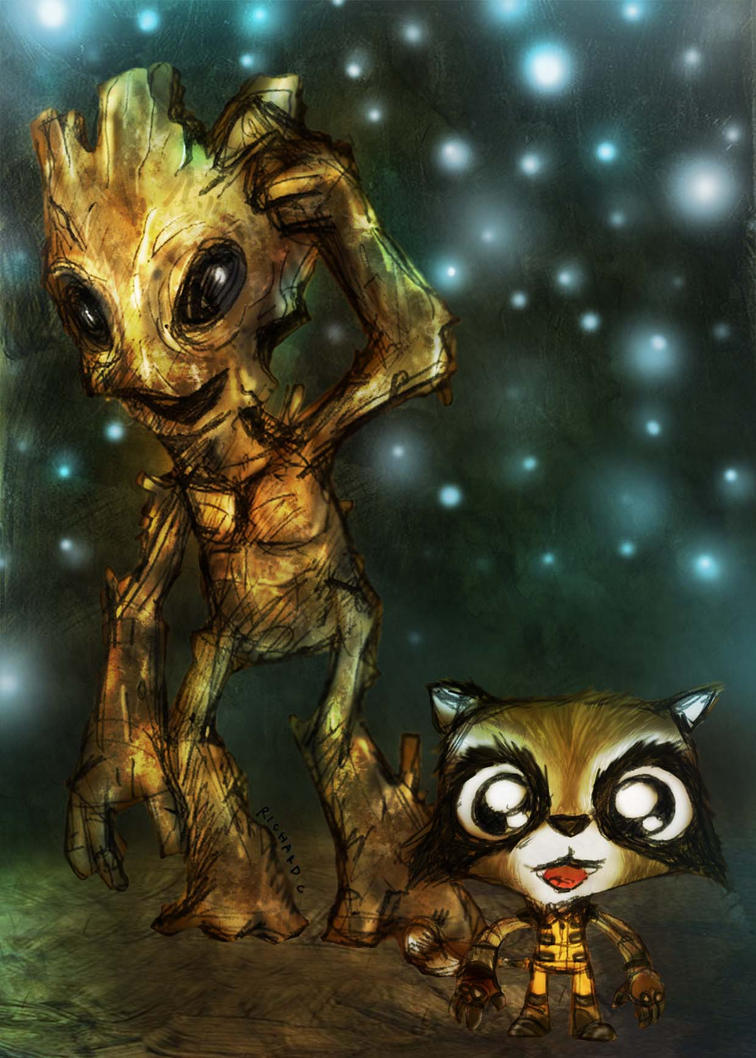 Rocket racoon And Groot by richard-chin