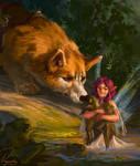 Fairy with corgi