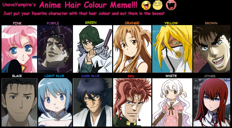 Anime Hair Colour Meme By RainfallClan