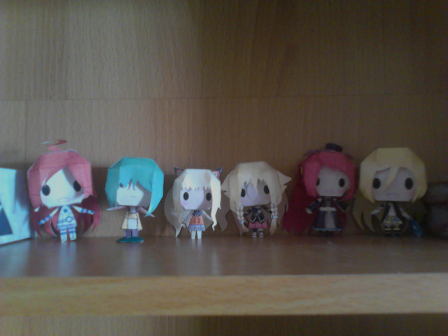 Almost all of my Vocaloid papertoys by demonreapergirl