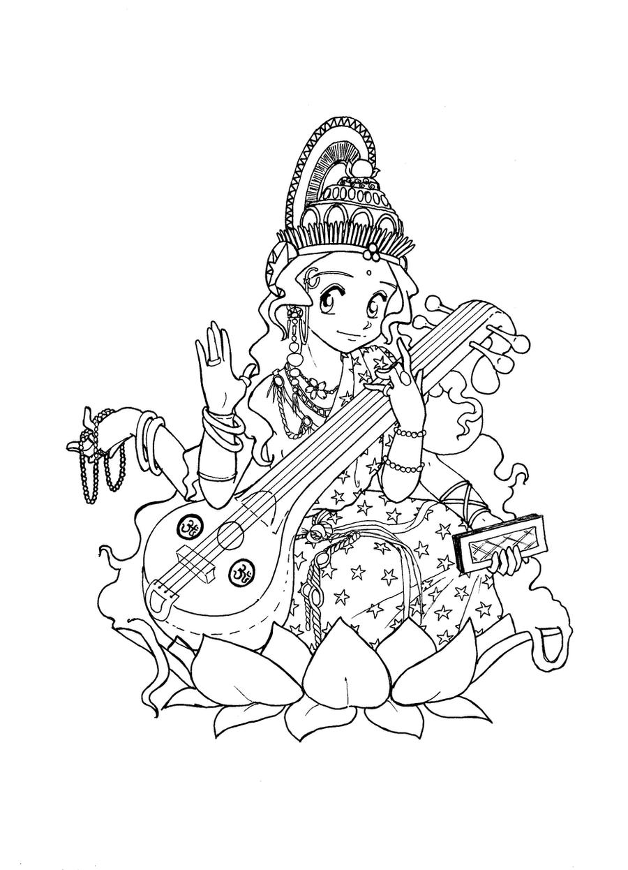Religions Coloring Pages Maa Saraswati Lineart Coloring