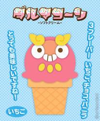 Strawberry Darumaka Ice Cream Cone