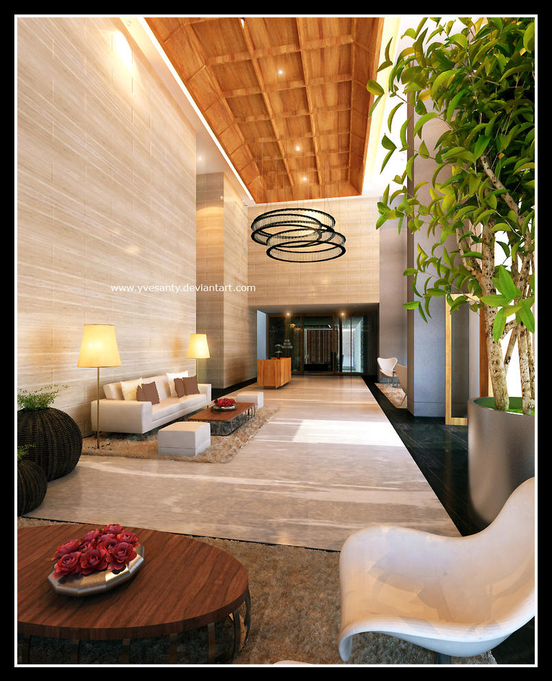Lobby apartment by yvesanty on deviantart for Apartment lobby design