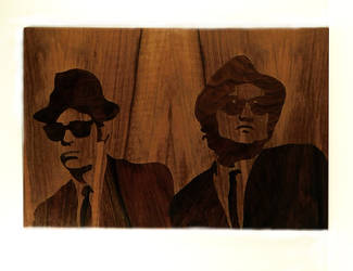 BluesBrothers marquetry of wood by Andulino