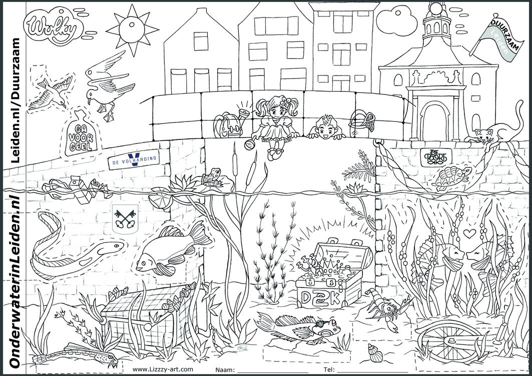 Coloring page Life in Dutch Canals