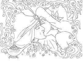 Aladdin and Jasmine lineart by lizzzy-art
