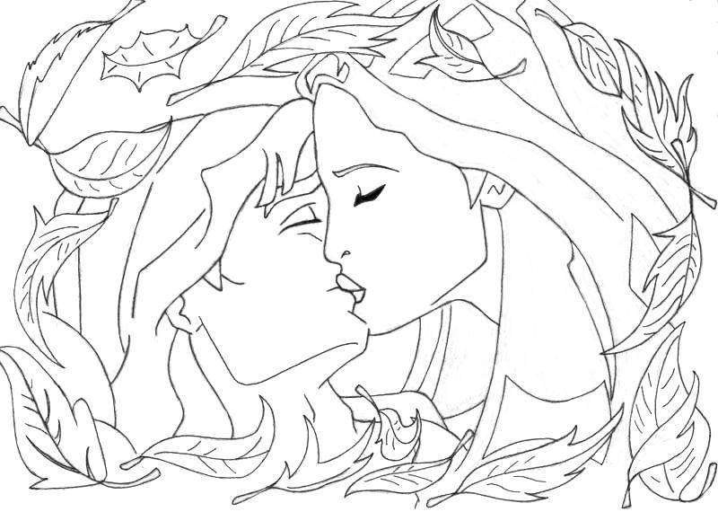 kiss pocahontasjohn lineartlizzzyart on deviantart