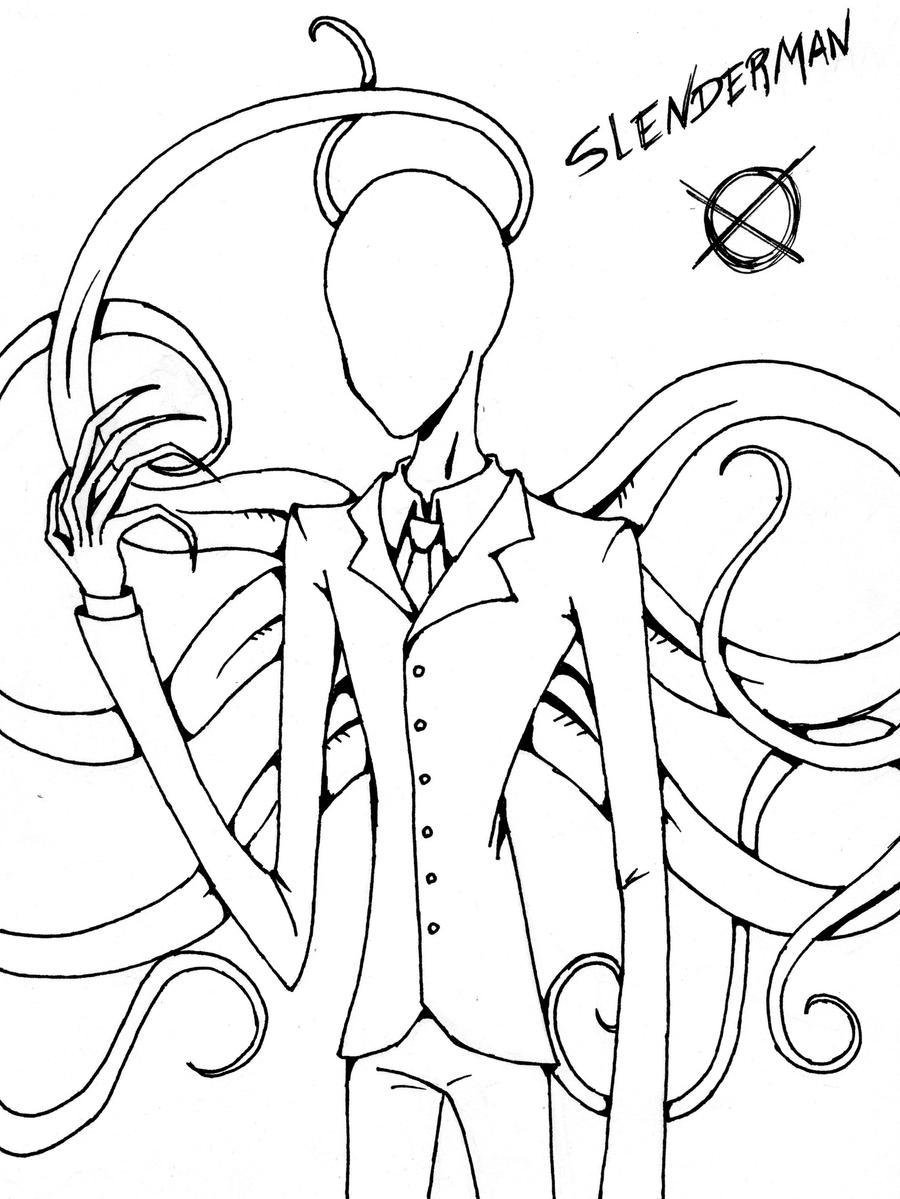 Slenderman lineart by takanithehedgehog on deviantart for Slender man coloring pages