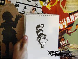 Cat in the hat-cut and sprayed