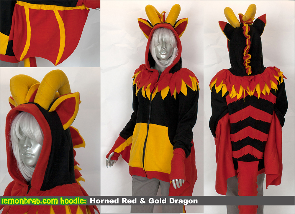 Horned Red and Gold Dragon Custom Hoodie! by lemonbrat ... & Horned Red and Gold Dragon Custom Hoodie! by lemonbrat on DeviantArt