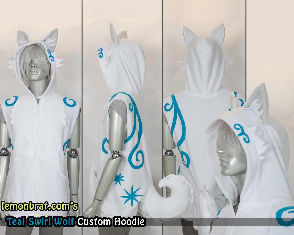 Teal Swirl Wolf Custom Hoodie by lemonbrat