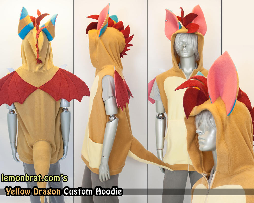 Yellow Dragon Custom Hoodie by lemonbrat